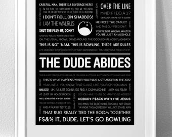 "THE BIG LEBOWSKI, ""The Dude Abides"" Typography Print"