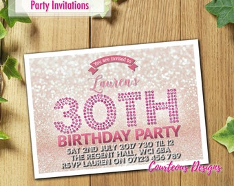 32x Personalised Birthday Party Invitations for 40th 50th 60th 30th 21st with Envelopes