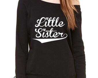 Little Sister Siblings Slouchy Off Shoulder Oversized Sweatshirt