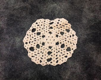 Off White Circular Floral Pattern Crochet Sew On Applique