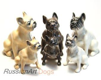 French Bulldog dog porcelain figurine handmade statue