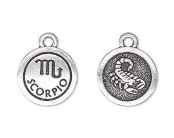Scorpio Charm, Antiqued Silver, Astrological Charm, Zodiac Charm, Pendant, 15mm, 1 Each, D1068
