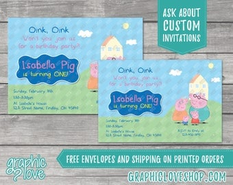 Personalized Peppa Pig Birthday Invitation, Any Age | 4x6 or 5x7, Digital or Printed, Envelopes, FREE US Shipping