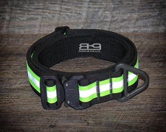 "Reflective 1.5"" Collar with AustriAlpin Cobra buckle; handmade in America by Rogue K9 LLC"