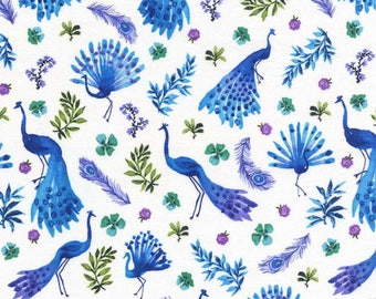 Peacock Park Sapphire Blue Peacocks Cotton Fabric from Peacock Pavillion collection by Michael Miller Fabrics