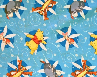 Disney Winnie the Pooh and Friends Piglet Eeyore Tigger Blue Cotton Fabric by Springs Creative