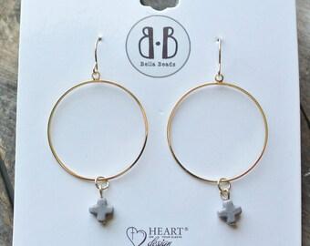 Light Grey Stone Cross 14K Gold Dipped Earrings / Gift For Women