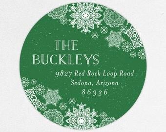 24 HOUR DIGTIAL FILE, Holiday Return Address Labels, Christmas Return Address Labels, Snowflake Return Address Labels