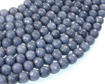Jade Beads, Gray, Faceted Round, 8 mm, 15 Inch, Full strand, Approx 48 beads, Hole 1 mm, A quality (211025009)