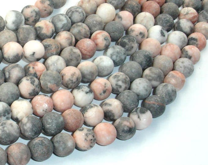 Matte Pink Zebra Jasper, 8mm(8.5mm) Round Beads, 15.5 Inch, Full strand, Approx 47 beads, Hole 1mm (352054006)