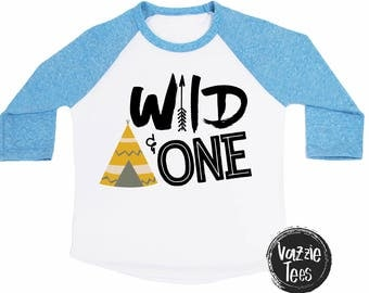 Wild and One - Tribal Tee Pee Shirt - First Birthday Shirt - Unisex Birthday Shirts - One Year Old - Birthday Shirt - ONE - 1st Birthday