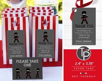 Ninja Favor Tag, Ninja Gift Tags, Ninja Printable, Ninja Thank you Tags, Favor tag, Red Ninja Favor Tag, Editable favor tags, Swing tags