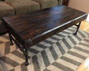 Rustic Industrial Wood & Iron Coffee Table
