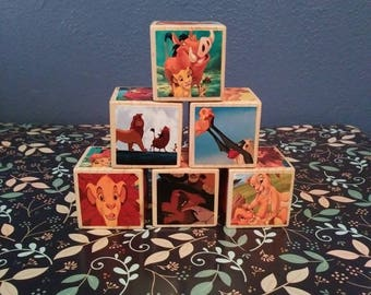 Lion King Blocks, Lion King baby shower,decor, storybook blocks, story blocks, baby nursery, birthday