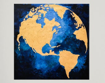 Modern Art, Globe Map, World Map Painting, Gold Leaf art, Abstract Painting, Map of the World, Acrylic Travel art, Large Painting, Nikki