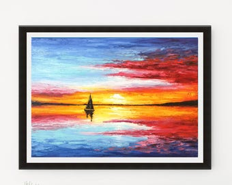 Sunset Print, Sailboat painting, Printable art, Abstract art print, Seascape art, Sunset painting, Coastal Decor, Boat painting, Home Decor
