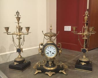 An Antique French Clock Garniture Set. Black Onyx & Ormolu. C 1870-90's. Napoleon III.