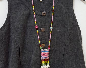 Hmong Embroidered necklace, Ethnic necklace, Hmong textile jewelry
