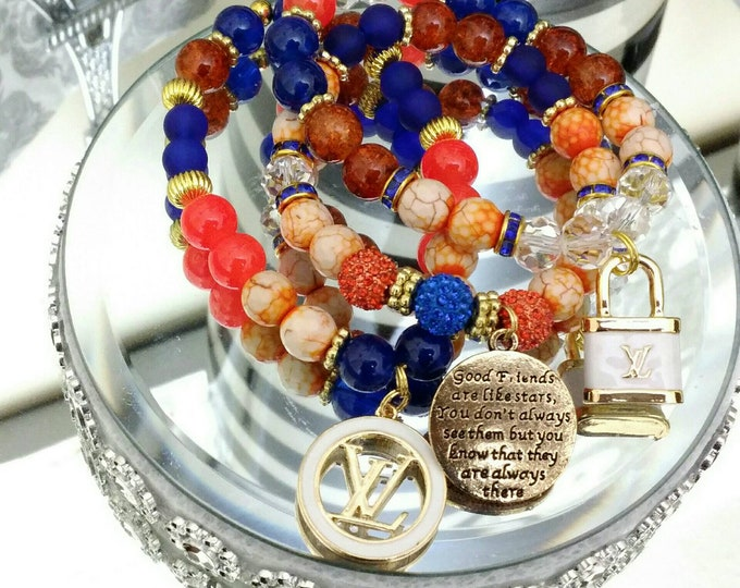 Designer Inspired Friends Orange & Blue Charm Beaded Bracelet Set, anniversary gifts, birthday gifts, mother's day gifts