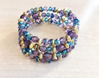 Turquoise, purple and gold Swarovski Crystal bracelet