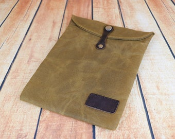 ipad case, tablet case, ipad air case, waxed canvas and leather cover