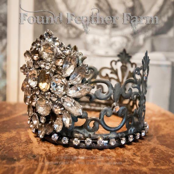 Stunning Medium Handmade Embellished Tin Crown with Vintage Rhinestone Jewels