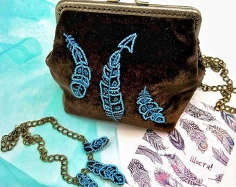 Embroidery in beads necklace & handbag - beadwork jewelry-beaded embroidery jewelry.