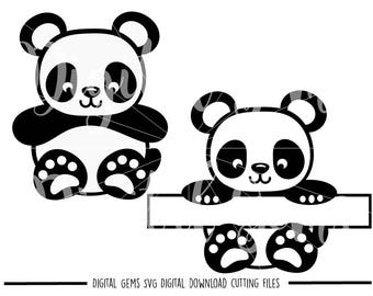 Panda svg / dxf / eps / png files. Digital download. Small commercial use ok.