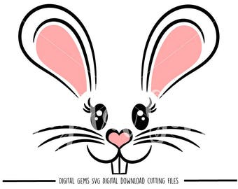 Easter Bunny Rabbit Face svg / dxf / eps / png files. Digital download. Compatible with Cricut and Silhouette machines. Commercial use ok