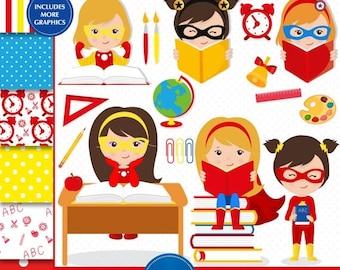 50% OFF SALE Superhero clipart, Back to school clipart, Girl clipart, Superhero girl clipart, School images, Teacher clipart - CL162