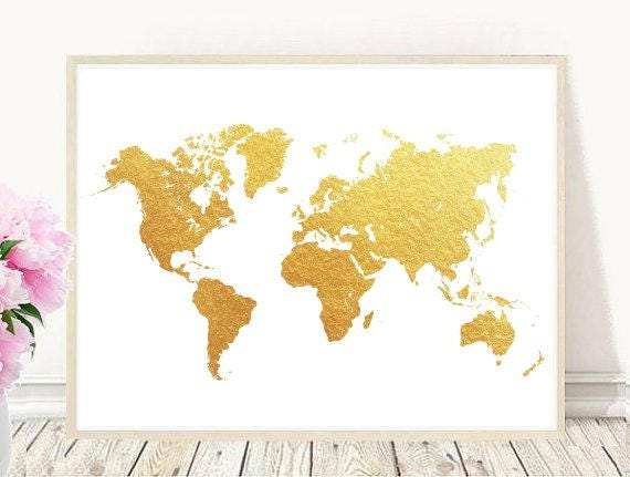 Gold world map map print world map printable printable wall gold world map map print world map printable printable wall art home decor wall decor instant download gumiabroncs Choice Image