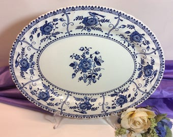 "Vintage Johnson Brothers "" Indies"" Pattern 12"" Serving Platter Ironstone Blue And White Made in England Dish Washer Safe"