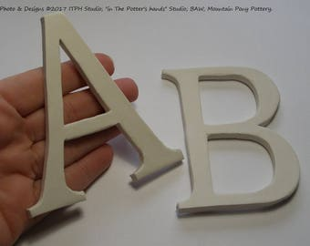 "3.5"" Bisque Blank, Choose A or B,  Paint Your Own or diffuser. White kiln fired clay. ITPH studio, ceramic pottery letter."