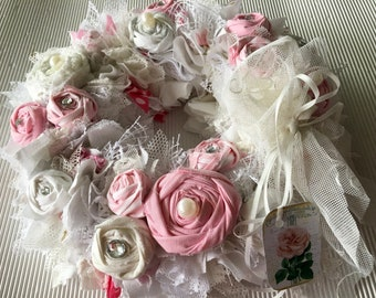 Fabric wreath pink-white roses
