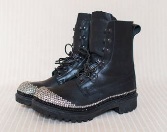 Leather Army Boots with Crystals, Combat Boots, Military Boots, Grunge Boots - Great Condition, Size 7UK
