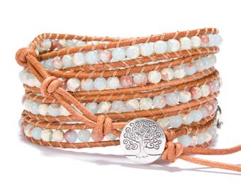 Leather Wrap bracelet Jasper bead bracelet women boho bead wrap bracelet leather bracelet gemstone bracelet natural stone Jewelry