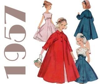 Girls Vintage Dress And Coat 1950s Girls Dress SIMPLICITY 1940 UNCUT Girls Size 8 Dress Pattern Girls Swing Coat Girls Vintage Coat Pattern
