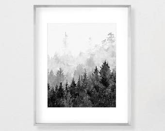 Forest Art, Landscape Painting, Forest, Forest Print, Forest Wall Art, Nature Print, Nature Art, Black and White, Printable Instant Download