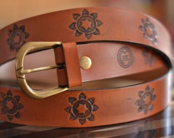 Brown belt/Leather belt/Flowers Belt/Belt /Handmade Leather belt