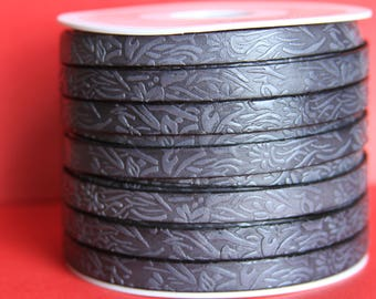 "MADE in EUROPE 24"" flat leather cord, 10mm leather cord, floral embossed leather cord (509/10/40)"
