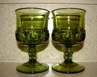 Indiana Glass, King's Crown, Thumbprint, 2 Green Juice Glasses, Green Glassware, Pedestal, Footed, Green Glasses, Barware