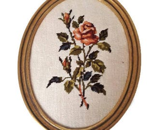 vintage  french framed needlepoint tapestry flowers