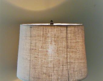Vintage Burlap Drum Lamp Shade, 11 inch Lampshade, Mid Century Lamp Shade, Modern Lamp Shade