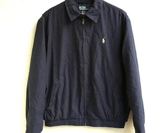 Vtg Polo Ralph Lauren Zip Up Navy Blue Harrington Jacket Size Medium M Men's