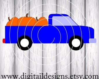 Pumpkin Truck Svg, Png, Dxf, Eps Fcm Cut file for Silhouette, Cricut and Brother Truck with Pumpkins