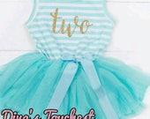 2nd birthday dress-Girls Party Dress-Blue Party Dress-Free Headband-Two Birthday Dress-Pink Party Dress