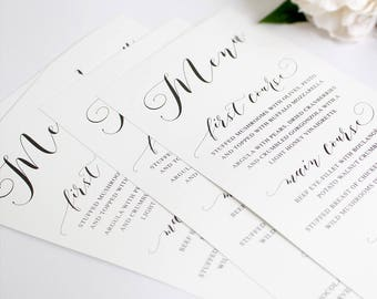 Printed Wedding Menu, Professional Printing, White Ink, Gold Foil Menu, Print on Wood, Deckled Edge, Corporate Menu, Peach Perfect Australia