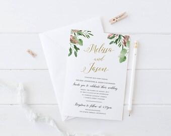 Printable Wedding Invitation, Garden Wedding Invite, Watercolour Foliage Leaves, Digital or Professional Printing, Rustic, Bohemian Luxe