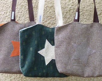 Brown canvas tote bag or Green Velvet / star/lined/tote bag beach bag shoulder bag Star