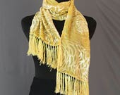 Silk Cut Velvet Scarf with Fringe, Hand-dyed, Plant-dyed with Tansy and Orange Osage